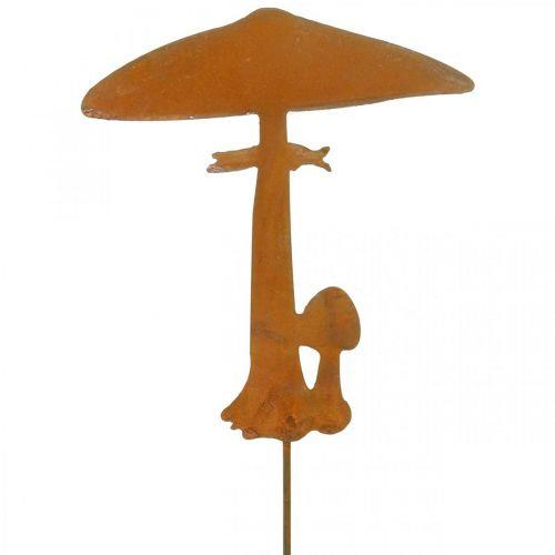 Bouchon de jardin champignons décoration jardin métal rouille 70cm