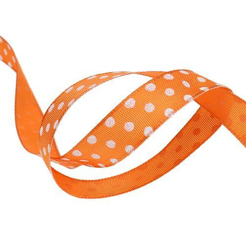 Ruban cadeau à pois orange 15mm 20m