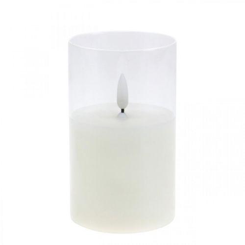 Bougie LED en verre effet flamme, bougie d'intérieur blanc chaud, LED avec minuterie, à piles Ø7,5 H12,5cm