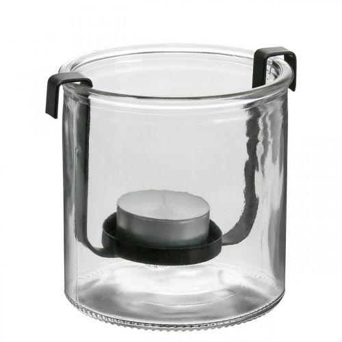 Lanterne en verre avec photophore métal noir Ø9 × H10cm