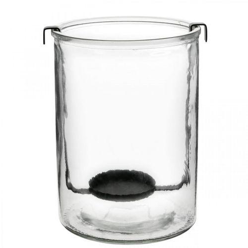 Lanterne en verre avec photophore métal noir Ø13,5 × H20cm