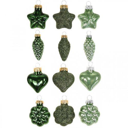 Mini décorations de sapin de Noël mélange verre vert Décorations de Noël assorties 4cm 12pcs