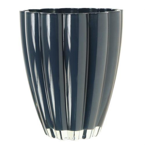 "Vase En Verre ""Bloom"" Bleu Foncé Ø14cm H17cm"