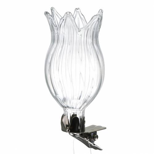 Vase en verre avec clip fleur Ø3,3cm H8,5cm transparent 4pcs