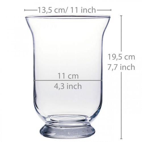 Vase en verre clair Ø13,5cm H19,5cm décoration vase à fleurs en verre