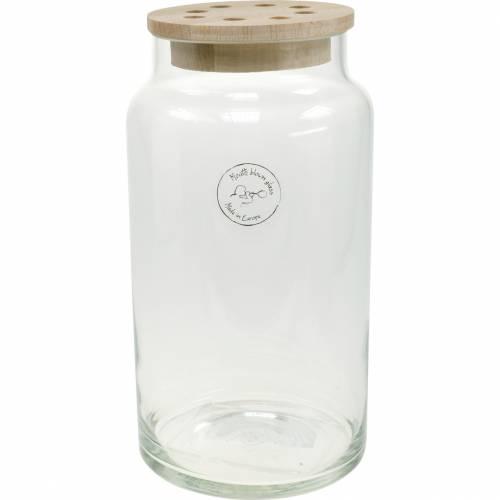 Vase en verre avec couvercle Vase décoratif avec couvercle perforé Disposer les fleurs