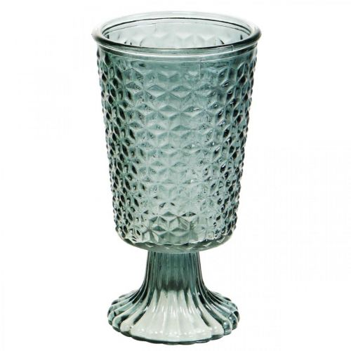 Lanterne avec pied, tasse en verre, verre décoratif gris Ø10cm H18,5cm