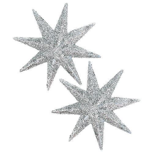 Étoile scintillante argent Ø10cm 12pcs