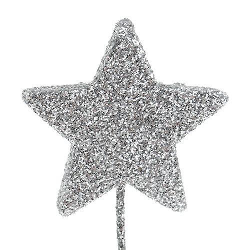 Étoile scintillante argent 4cm sur fil 60pcs