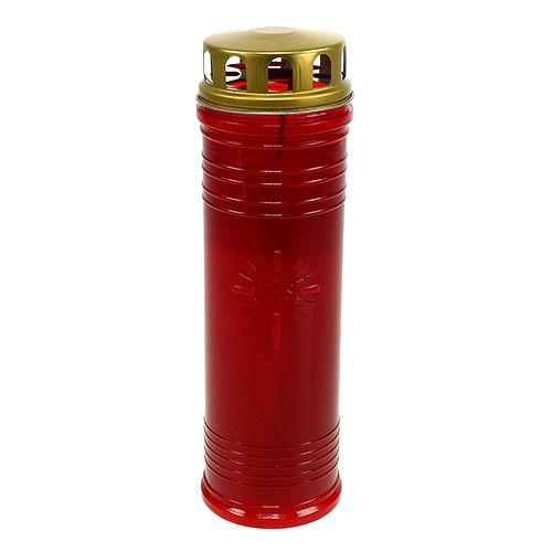 Lanterne funéraire rouge Ø 7,5 cm H. 24,5 cm 1 p.