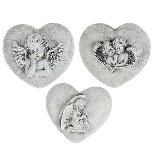 Grave bijoux coeurs avec anges 9cm 3pcs