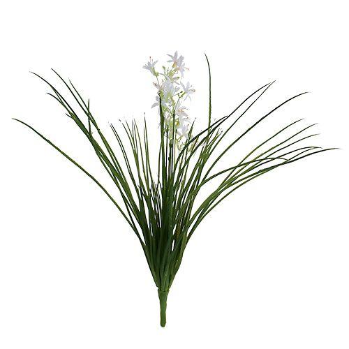 Piquet de graminées avec fleurs vert et blanc, 3 p.