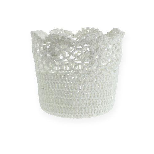 Cache-pot crocheté  blanc Ø 14 cm H. 12,5 cm
