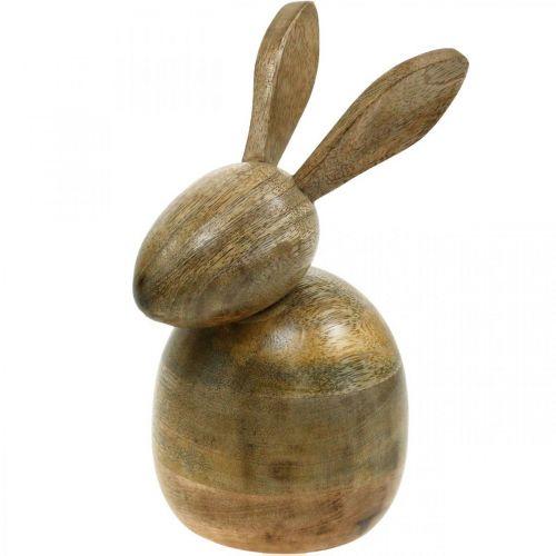 Assis lapin en bois, lapin décoratif, décoration en bois, Pâques 18cm