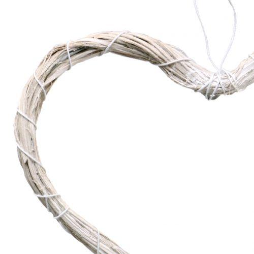 Coeur Bast à suspendre blanc 20cm 6pcs