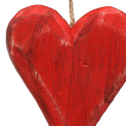 Coeurs en bois suspendus rouge, blanc 11,5cm 4pcs