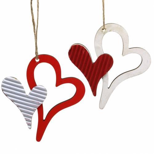 Coeur en bois suspendus décoration cadeau étiquette Signe jardin bleu oiseaux printemps
