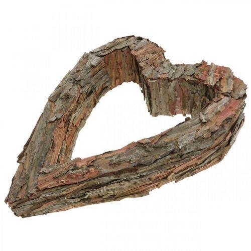 Déco coeur bois écorce de pin 40×32cm