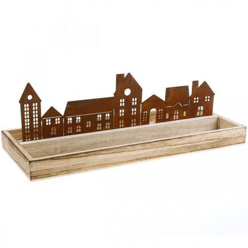 Plateau décoratif rectangulaire en bois avec maisons de rustication 35×15cm