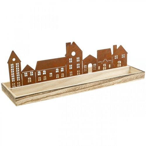 Plateau décoratif rectangulaire en bois patiné maisons 50×17cm
