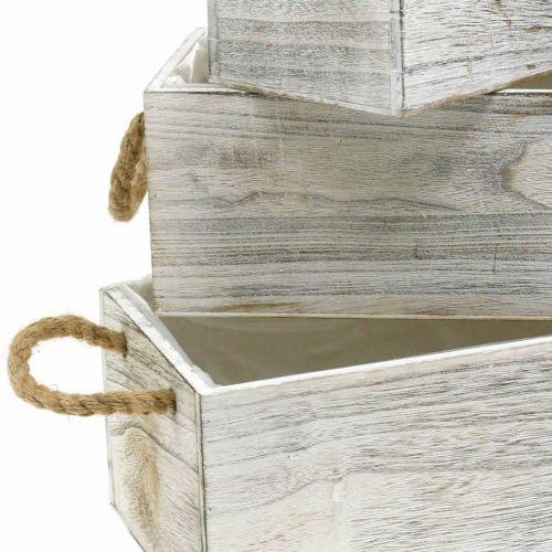 Boîte à fleurs, boîte en bois pour la plantation, jardinière, set de jardinière L35 / 30 / 25cm
