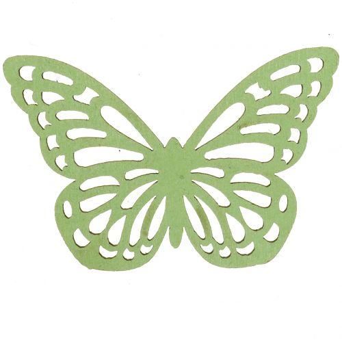 Papillon en bois vert / blanc 5cm 36pcs
