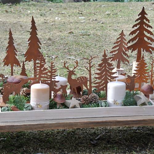 Plateau en bois forêt avec animaux 50 x 17 cm