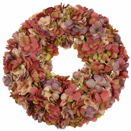 Couronne d'hortensia vieux rose Ø44cm