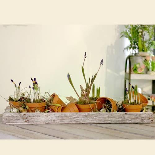 Plateau en bois avec écorce naturelle, blanc lavé, 59cm x 20cm
