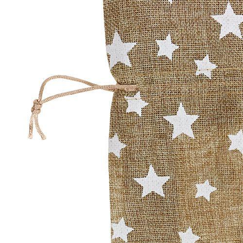 Sac en toile de jute naturelle avec étoiles 23 x 23 cm H. 35 cm