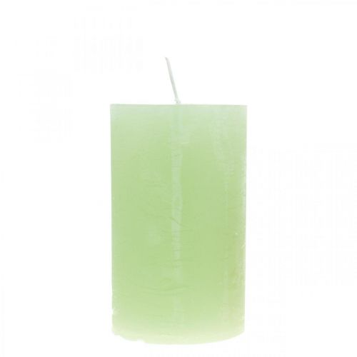 Bougies piliers teintes vert clair 60 × 100mm 4pcs