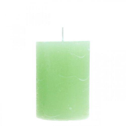 Bougies piliers de couleur vert clair 70 × 100mm 4pcs