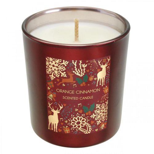 Bougie de Noël parfumée orange, bougie cannelle verre rouge Ø7 / H8cm