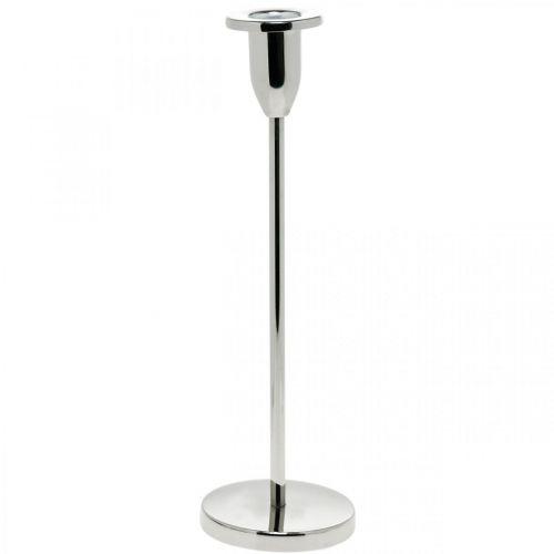 Bougeoir décoration bougeoir en métal argenté moderne H26cm