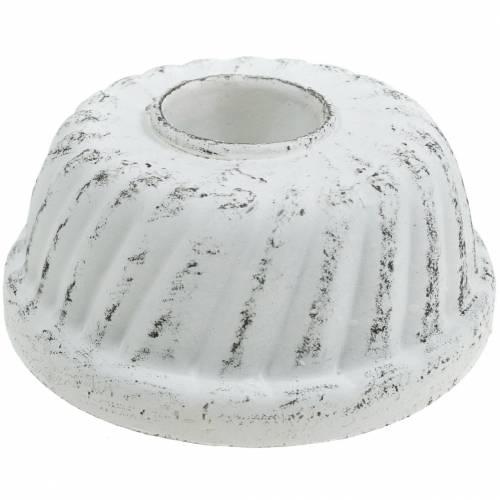 Bougeoir Gugelhupf plat de cuisson Shabby Chic blanc Ø7,2cm H3cm
