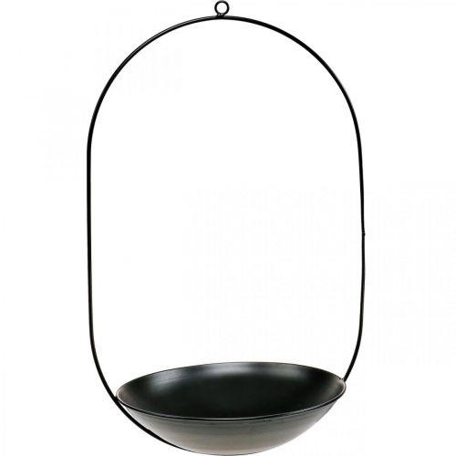 Bol décoratif à suspendre anneau métal noir décoration Scandi 28×54cm