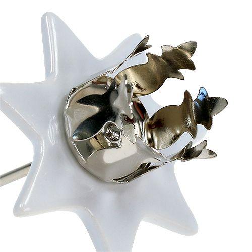 Bougeoir étoile blanc-argent Ø6cm 4pcs