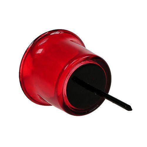 Bougeoir pour photophore en verre rouge Ø6cm L10cm