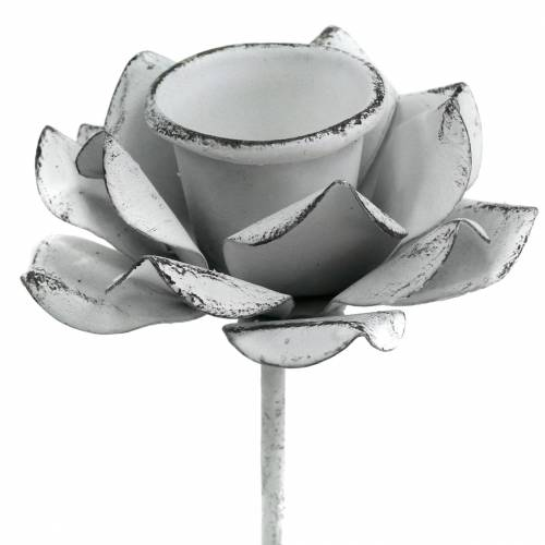 Bougeoir fleur à coller métal blanc Ø6 × 10cm