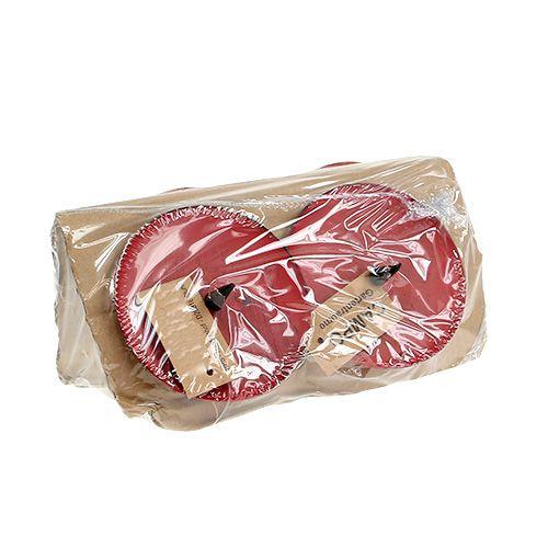 Bougeoir à coller rouge Ø8cm 4pcs