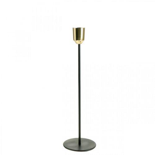 Bougeoir or/noir, bougeoir métal H29cm Ø2.2cm