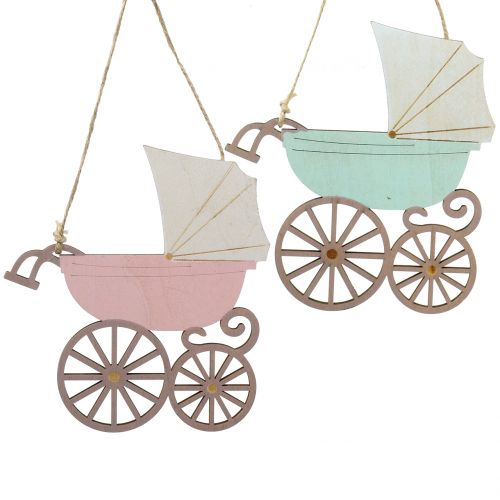 Décoration à accrocher Pram Pink / Blue 16,5cm x 15cm 6pcs