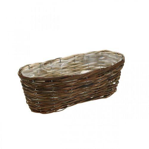 Panier à planter, décorations florales, panier en bois naturel L35cm 11,5cm