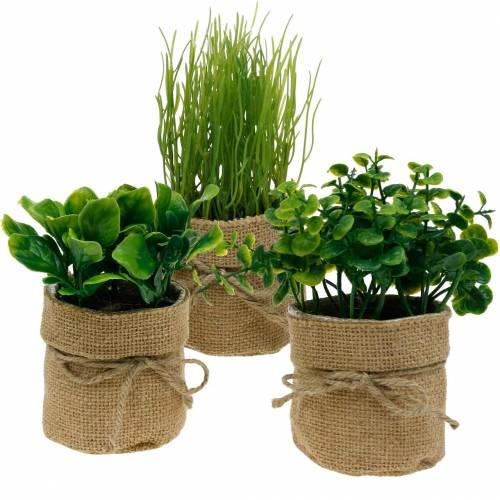 Herbes en pot Herbes de cuisine artificielles Ciboulette, basilic et laitue 3pcs