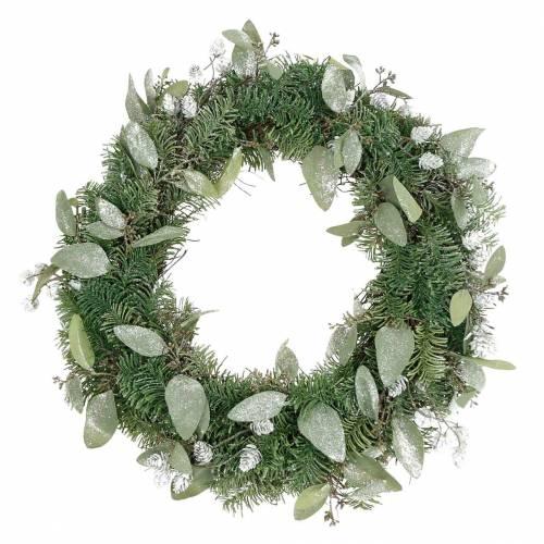 Couronne décorative eucalyptus et cônes artificiels Ø45cm vert, blanc