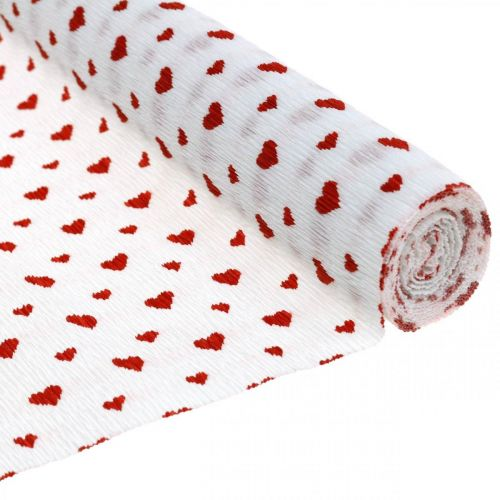Papier crépon avec coeurs Crêpe de fleuriste Fête des Mères rouge, blanc 50 × 250cm