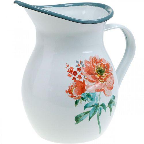Cruche décorative, vase à fleurs look vintage, cruche en émail motif rose H19cm