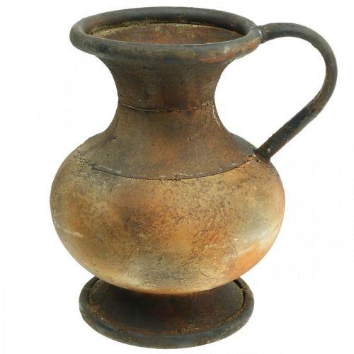 Pichet déco vase aspect antique décoration de jardin vintage en métal H26cm