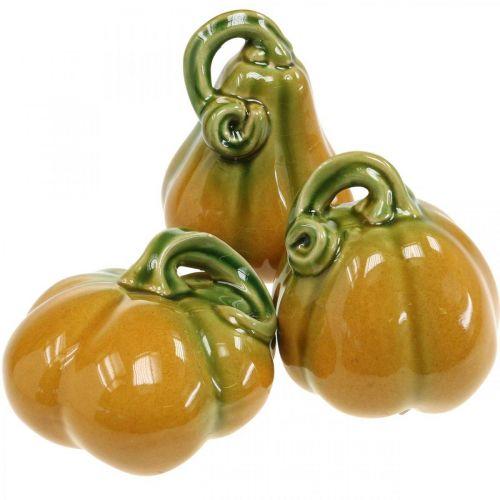 Citrouille décorative en céramique orange, verte assortie H7.5 / 10 / 11cm 3pcs