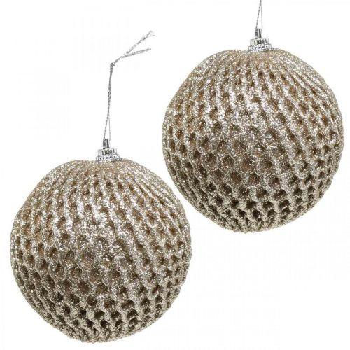 Boule de Noël boule alvéolée champagne Ø8cm 6pcs
